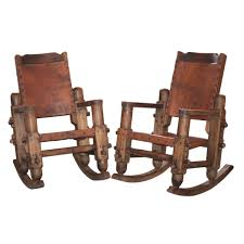 Lot 260 Vintage Mexican Wooden Leather Rocking Chairs