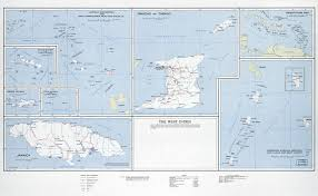 Large Scale Map Of The West Indies With Roads Railroads Cities And Other Marks
