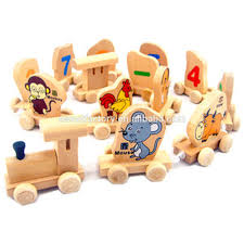 wooden digital zodiac train toy set funny diy wooden train block