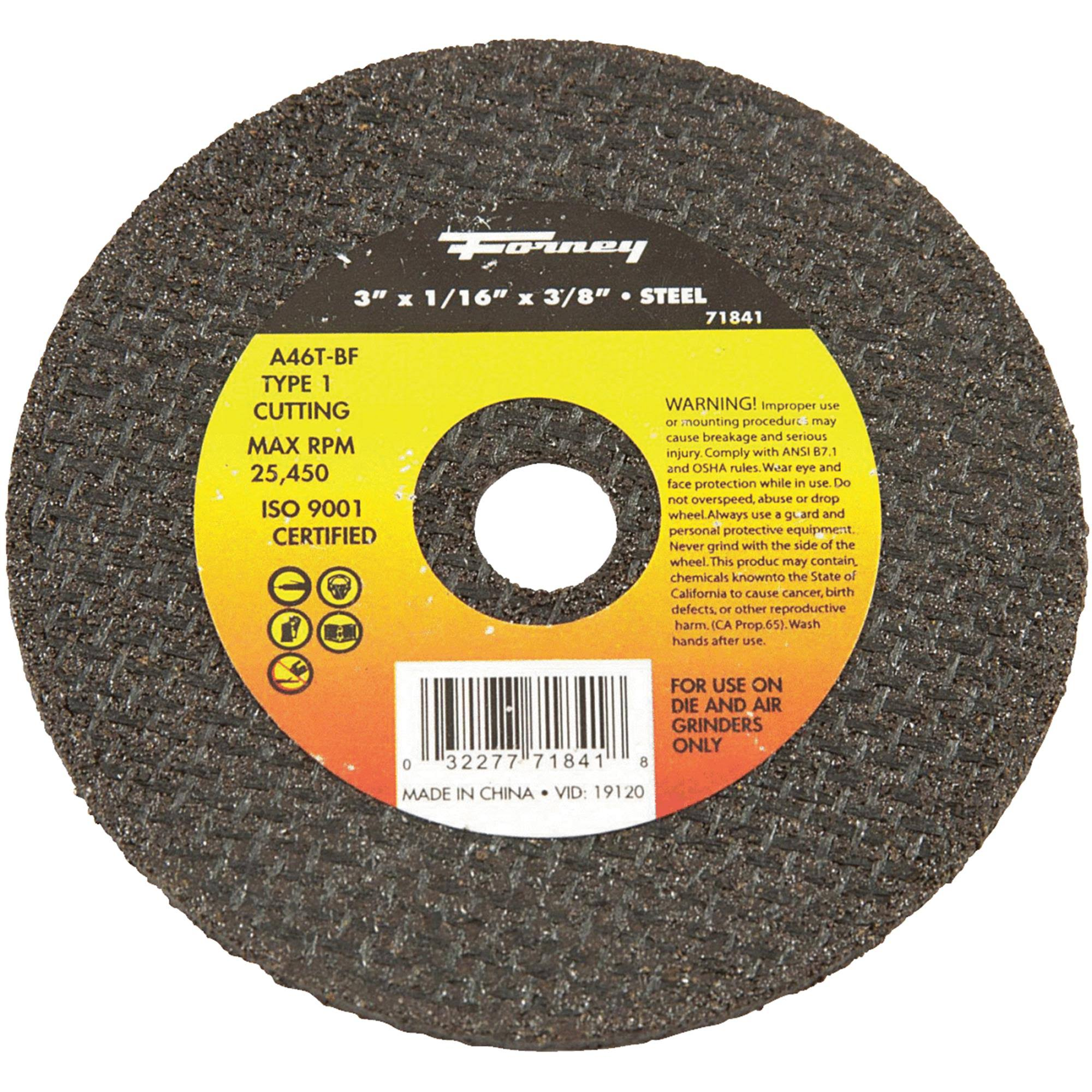 "Forney Cut-Off Wheel - 3""x1/16""x3/8"", Metal, Type 1"