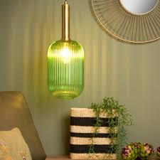 pendelleuchte maloto aus glas in grün und mit textilkabel in schwarz e27