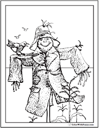 Halloween Coloring Pages Scarecrow Picture And Corn Crop