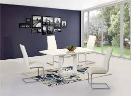 100 White Gloss Extending Dining Table And Chairs High