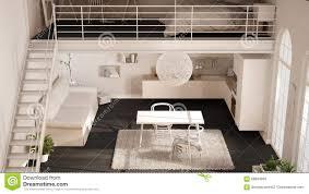 100 One Bedroom Design Scandinavian Minimalist Loft Room Apartment With White Kitchen