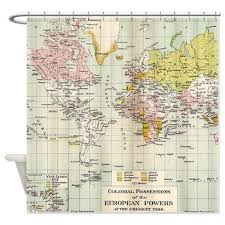 World Map Shower Curtain Vintage Colonial Map Home Decor
