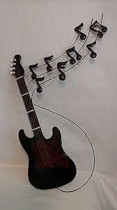 Guitar Wall Art And Music Notes Decorative Ceramic Metal