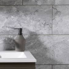 100 Marble Walls Silverthorne Marble Silver Gloss Effect Ceramic Wall Floor Tile Pack Of 8 L248mm W498mm Departments TradePoint