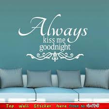 wand zitate küssen sie mich immer schwarz weiß vinyl wandtattoo tapeten aufkleber hochzeit schlafzimmer liebhaber poster wandkunst