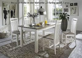 massivholz sitzbank 130cm 2farbig weiß grau kiefer holzbank küchenbank