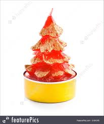 House Decor Small Red Candle With Golden Sparkles In Shape Of Christmas Tree