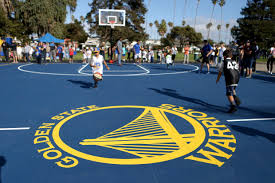 The Golden State Warriors Hosted A Basketball Clinic Following Unveiling Of Two Newly Refurbished Courts At Washington Park In Alameda