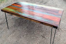 Make A Reclaimed Wood Desk by Multi Color Pallet Table Google Search Patio Table Top