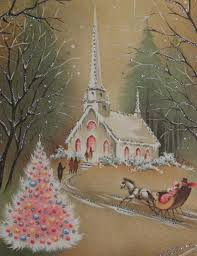 Ebay Christmas Tree Skirts by 332 50s Glittered Church In The Night Vintage Christmas Greeting