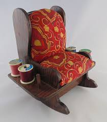 Vintage Handmade Wooden Rocking Chair Sewing Caddy Pincushion ...