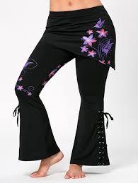 bottoms purple xl criss cross plus size butterfly flare pants