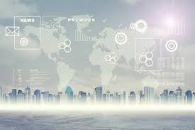 Abstract Virtual Background With Cityscape World Map And Graphical Charts