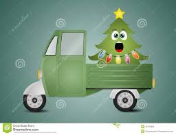 Funny Christmas Tree In Truck Stock Illustration - Illustration Of ...