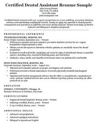 Dental Assistant Resume Example How To Write A Certified Sample Download
