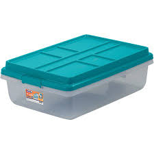 Christmas Tree Storage Tote Walmart by Hefty Hi Rise Storage Bins 40 Qt Stackable Bin With Latch Teal
