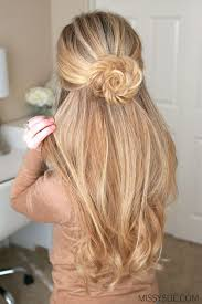 Image result for rose bun half up half down