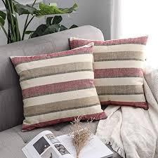 miulee 2er pack leinenoptik home dekorative streifen kissenbezug kissenhülle kissenbezug zierkissen sofakissen für geschenk sofa schlafzimmer mit