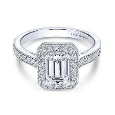 Corinne 14k White Gold Emerald Cut Halo Engagement Ring Angle 1