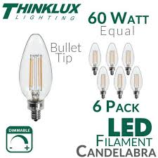 60 watt equal led filament candelabra light bulb b11 earthled