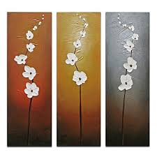 Contemporary White Flowers Artwork 3 Piece 100 Hand Painted Abstract Floral Oil Paintings On Canvas Wall Art For Living Room Bedroom Home Decorations