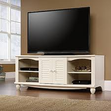 sauder harbor view antiqued white entertainment center 403679