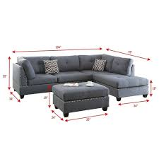100 Cor Sofas Bobkona Chaise Pine Wood 3PCS Reversible Sectional Sofa W Nailheads Dcor And Cocktail Ottoman