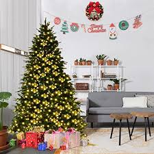 Best 7ft Artificial Christmas Tree by Goplus 7ft Pre Lit Artificial Christmas Tree Premium Spruce Hinged