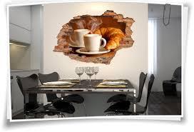 wandbild aufkleber wanddurchbruch küche esszimmer frühstück kaffee croissant
