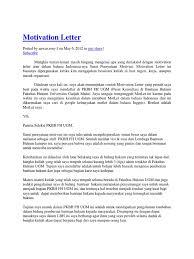 Sample Motivation Letter For Your PhD Application INOMICS