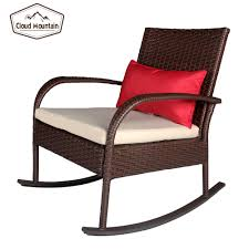 Cloud Mountain Outdoor 3 Piece Rocking Chair Set Wicker Rattan Bistro Set  Wicker Furniture - Two Chairs With Glass Coffee Table
