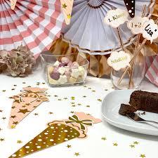 zuckertüte schultüte konfetti 12 stk schuleinführung einschulung schulanfang streu deko rosa gold