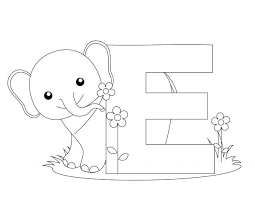 Letter E Elephant Coloring Pages Printable Elmo