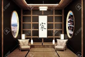 100 Japanese Zen Interior Design Room Style 3D Rendering Stock Photo Picture