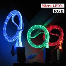 RGB LED Color Light Data Sync Charger Round USB Cable For iPhone 7