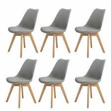 6er set esszimmerstühle mit massivholz eiche bein