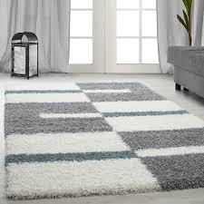 langflor hochflor wohnzimmer shaggy teppich florhöhe 3cm grau weiss türkis