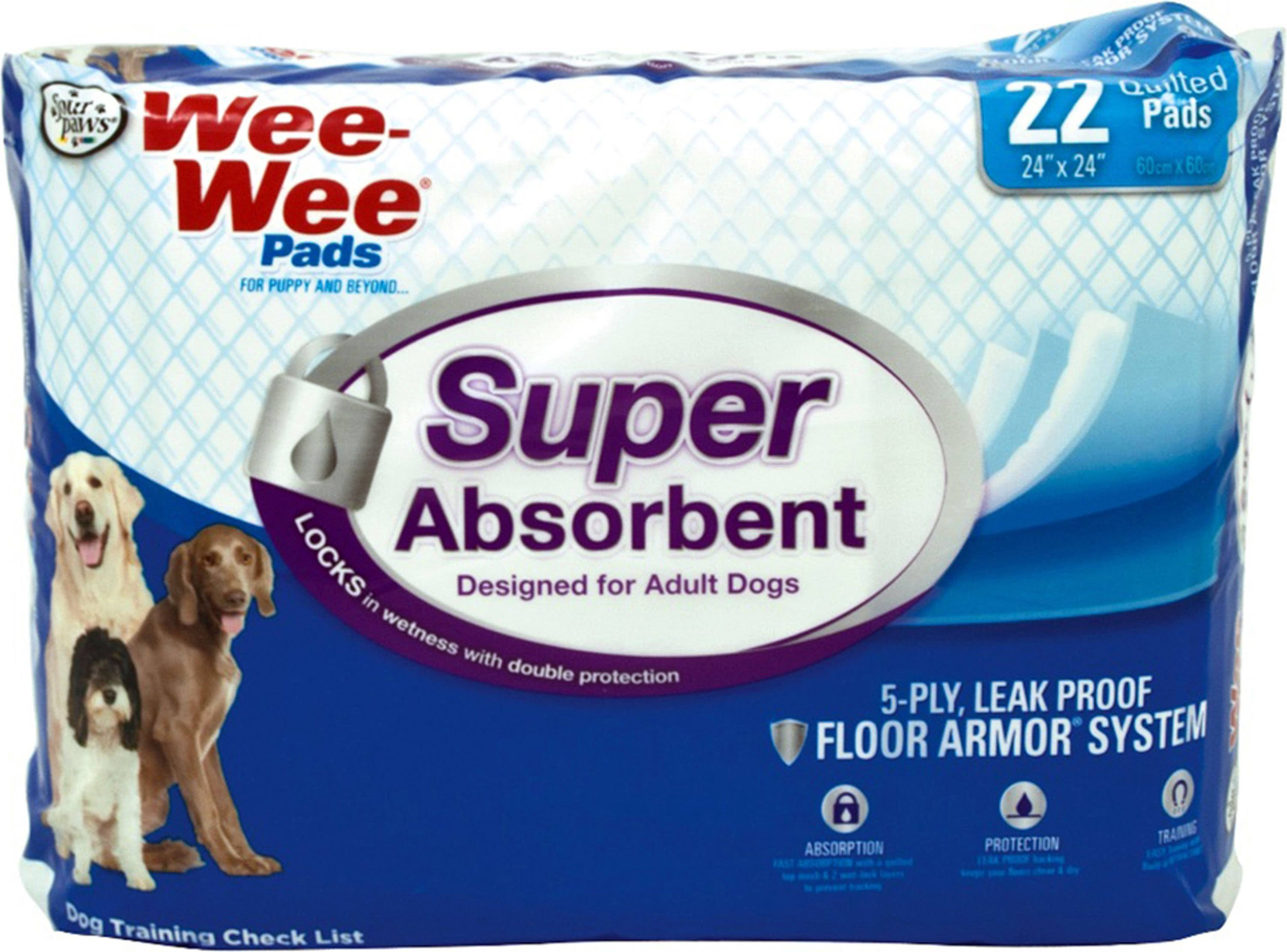 Four Paws Wee-Wee Pads - Super Absorbent - 22 Count