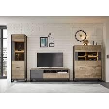 places of style wohnzimmer set malthe 3 tlg im trendigen design 1 grosse vitrine 1 lowboard 1 kleine vitrine