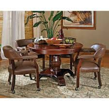 Dining Room Upholstered Captains Chairs by Emerald Home Castlegate 5 Piece Round Dining Set With Caster