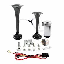 AIRZIR 12V 135db Dual Trumpet Air Horn Kit With Two Trumpets And ... Universal Fourtrumpet Air Train Horn Kit For Cartruckboat Truck Kit Two Trumpet 110 Psi 12v Dc Compressor Pssure Pair Loud 2 Big Rig Semi Air Horns Viair 150psi Sale Hornblasters Train Horn Install Truckin Magazine 12v Chrome Dual Trumpet Compressor Car Boat Wolo Mfg Corp Air Horns Horn Accsories Comprresors Lumiparty 178db Super Fort Double Trompette Voiture Azir 135db With Two Trumpets And Unique Bargains Sliver Tone Metal Lond Sound 3trumpet 150db 24v Auto Four 4 Alloy Tone Of Texas