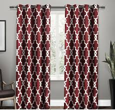 Moroccan Lattice Curtain Panels by 108 Inch Burgundy Red White Moroccan Curtains Panel Pair Set Dark