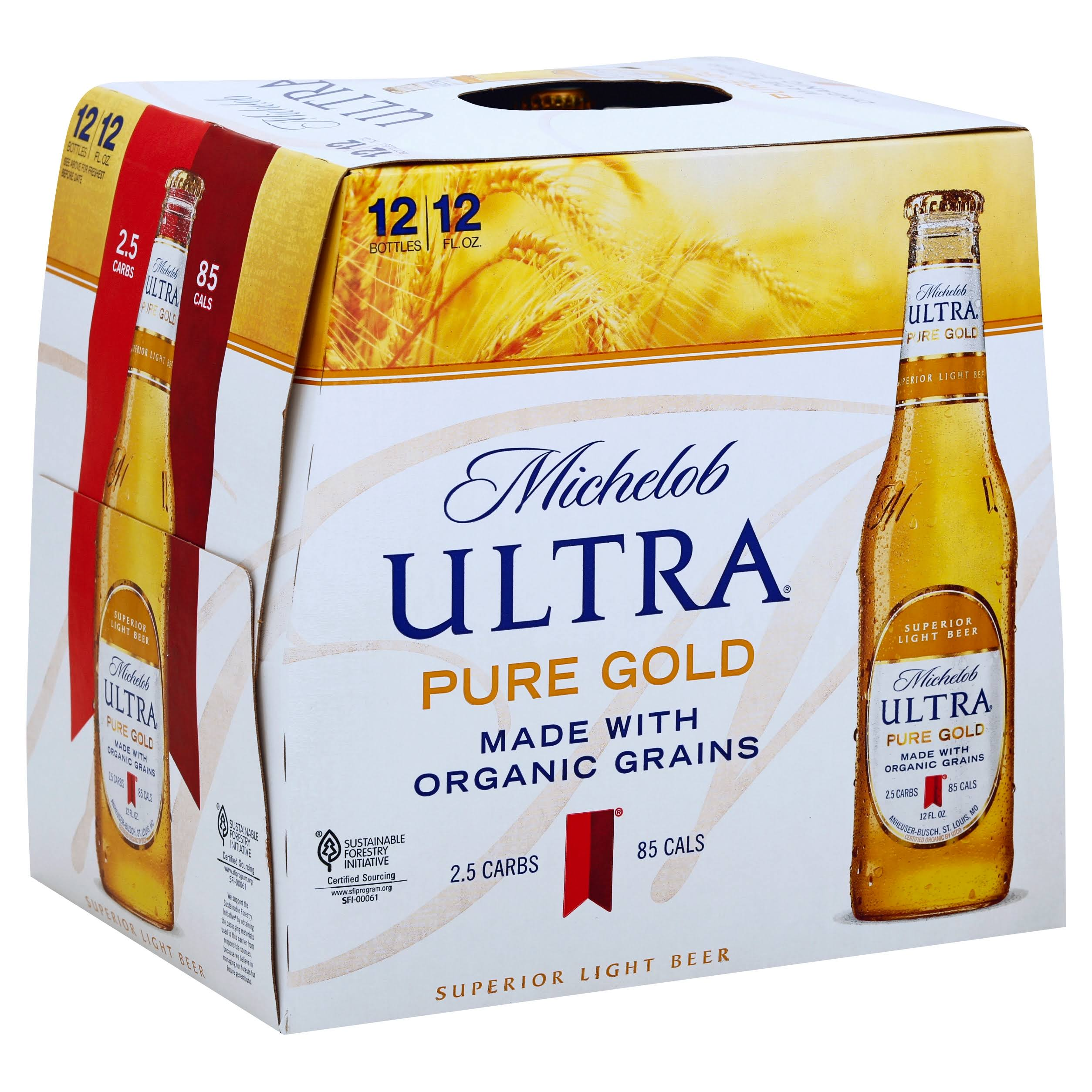 Michelob Ultra Ultra Beer, Pure Gold - 12 pack, 12 fl oz bottles