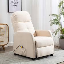 moderne elektrisch massagesessel tv sessel creme stoff relaxsessel fernsehsessel