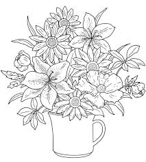 Floral Coloring Pages Lily Flowers