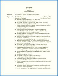 Objective For Resume Restaurant Project Manager Examples Images