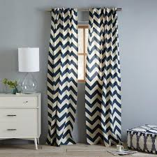 navy blue and white chevron curtains window treatments cotton